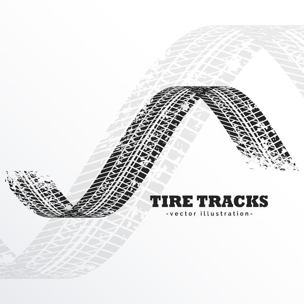 Grunge preto pneu trilhas no fundo branco Vetor grátis