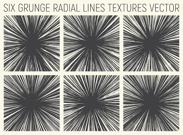 Grunge radial lines texturas vector set Vetor Premium