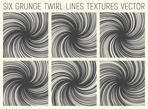 Grunge twirl linhas texturas vector set Vetor Premium
