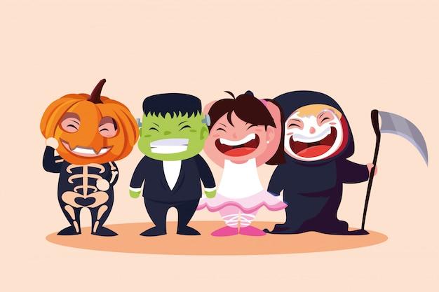 Grupo bonito crianças disfarçadas para o halloween Vetor Premium