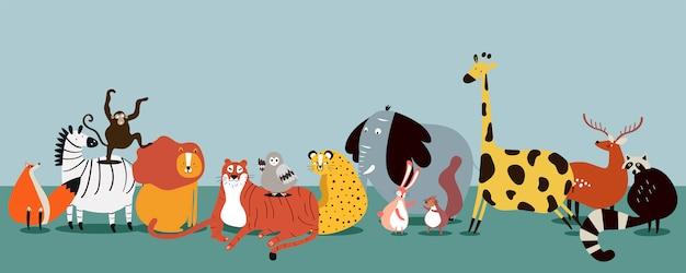 Grupo bonito de vetor de animais selvagens Vetor grátis