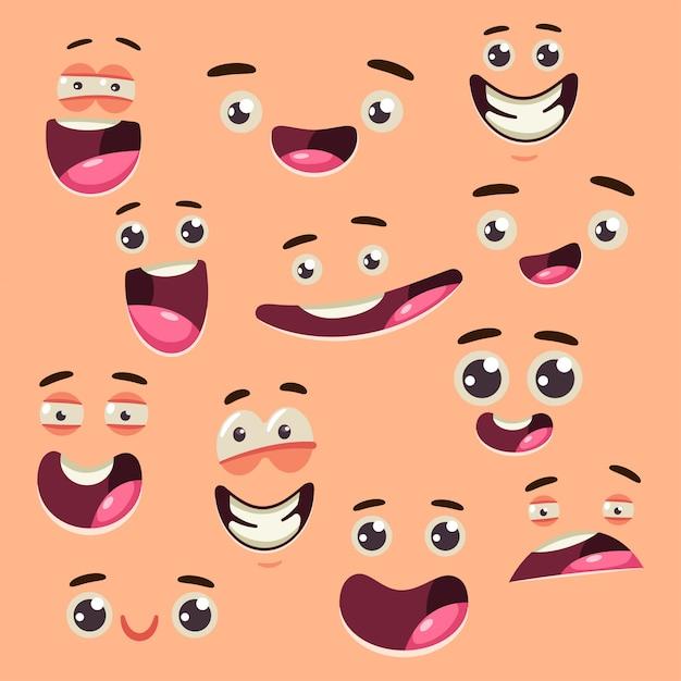Grupo bonito do vetor da coleção da cara dos desenhos animados isolado no fundo. Vetor Premium