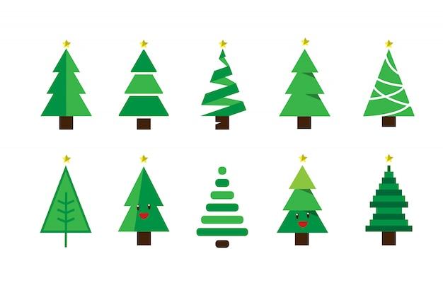 Grupo Colorido Do Vetor Da árvore De Natal Dos Desenhos