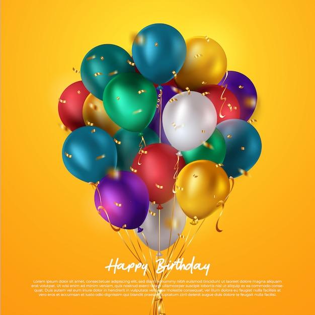 Grupo colorido realista de balões de aniversário voando para festa e comemorações com espaço para mensagem isolado no fundo branco. ilustração Vetor Premium