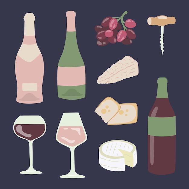 Grupo da ilustração do desenho da mão do vinho e do queijo. Vetor Premium