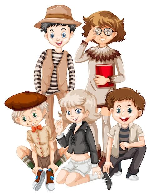 Grupo de adolescente hipster Vetor grátis