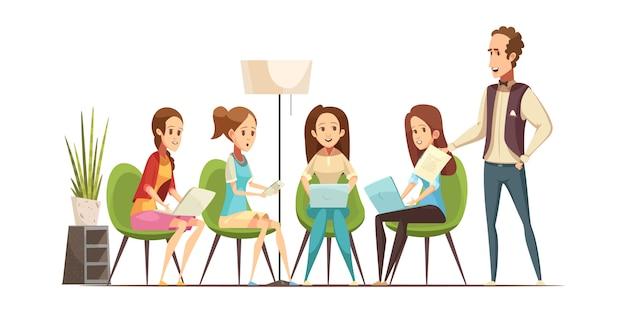 Grupo de adolescentes com aparelhos eletrônicos, assistir a aula de oficina no centro de juventude ilustração em vetor retrô dos desenhos animados Vetor grátis