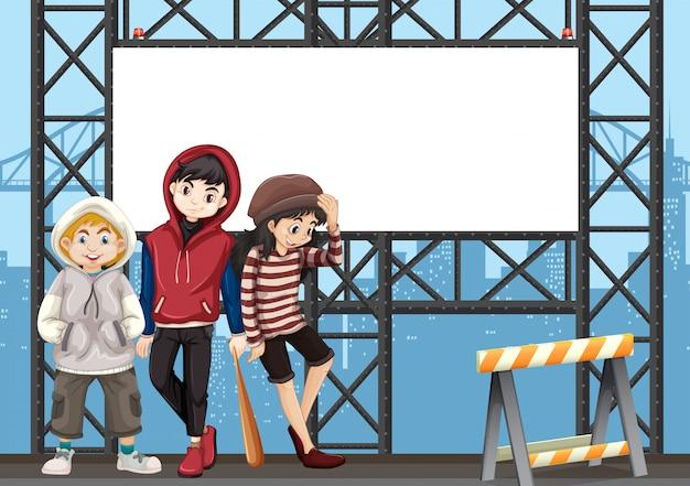 Grupo de adolescentes no outdoor urbano Vetor Premium