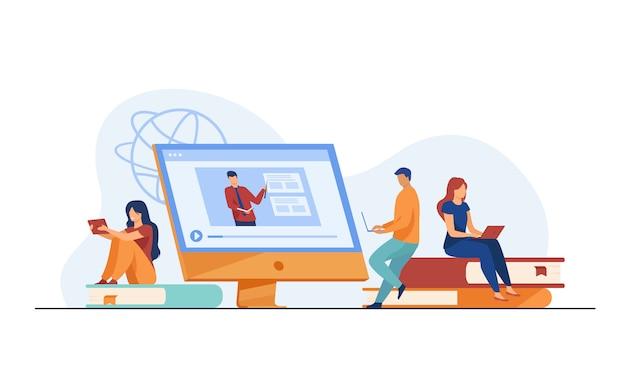 Grupo de alunos assistindo online webinar Vetor grátis