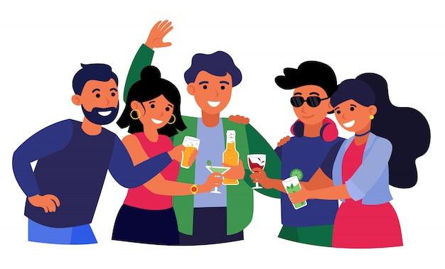 Grupo de amigos bebendo bebidas alcoólicas Vetor grátis