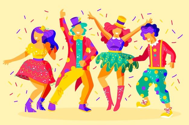 Grupo de amigos dançando no carnaval Vetor grátis