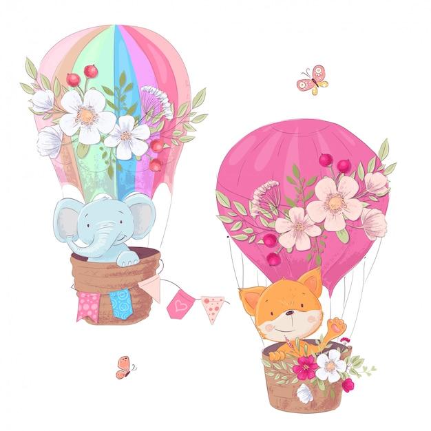 Grupo de animais bonitos dos desenhos animados raposa e clipart das crianças do balão do elefante. Vetor Premium