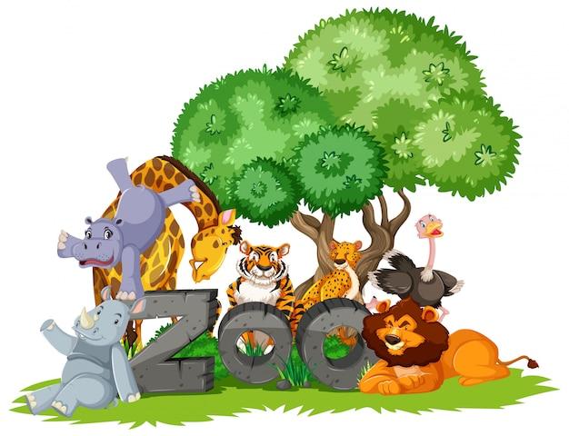 Grupo de animais debaixo da árvore com sinal de zoológico Vetor grátis