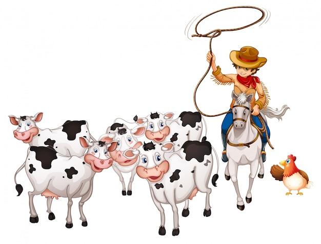 Grupo de animais domésticos com cowboy isolado Vetor grátis