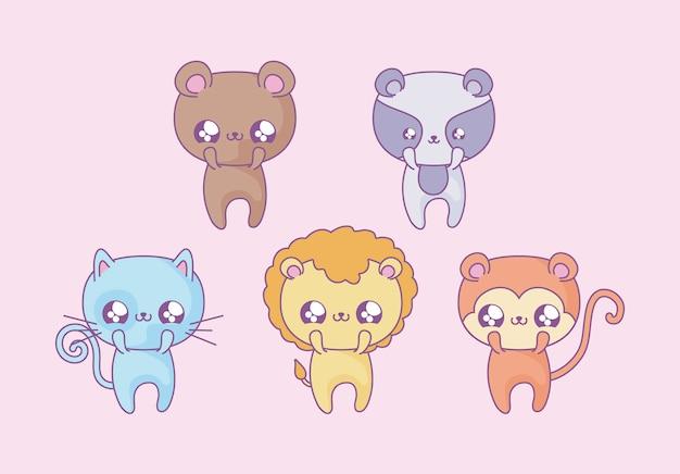 Grupo de animais fofos bebê estilo kawaii Vetor Premium