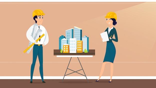 Grupo de arquitetos com layout de arquitetura da cidade Vetor Premium