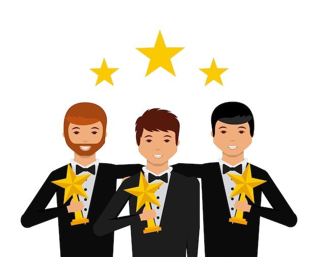 Grupo de atores com ícone de desenhos animados de troféus de estrelas Vetor Premium