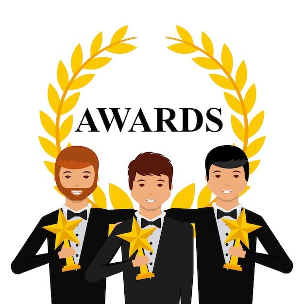 Grupo de atores com troféus de estrelas Vetor Premium