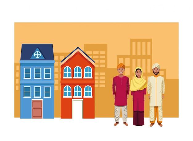 Grupo de avatar do povo indiano Vetor Premium
