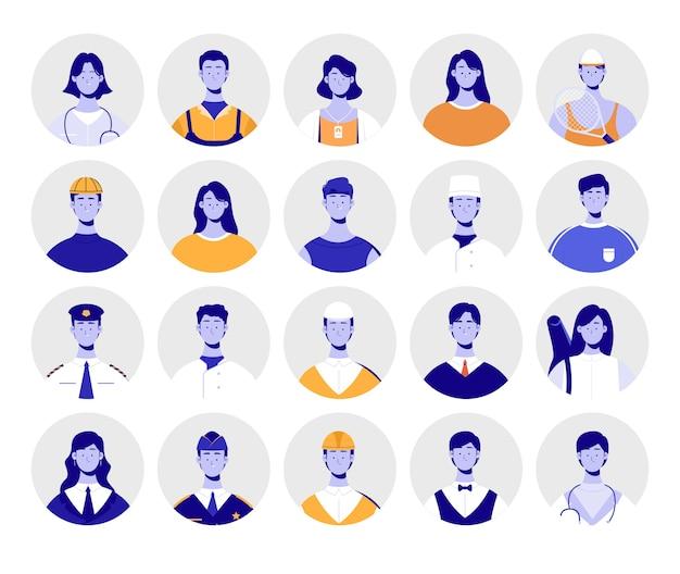 Grupo de avatares. profissão avatars pack. Vetor Premium