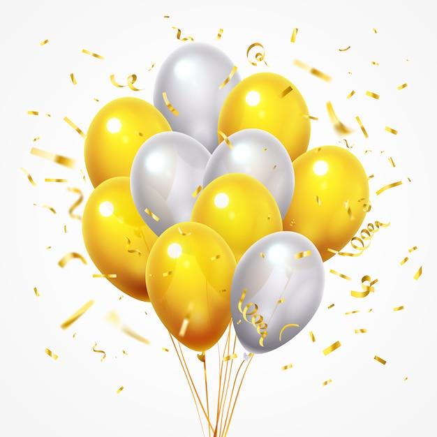 Grupo de balões voadores. confetes caindo brilhantes dourados, balão de hélio amarelo e branco brilhante com fita 3d de ouro Vetor Premium