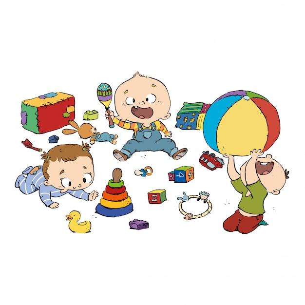 Grupo de bebês brincando no berçário Vetor Premium
