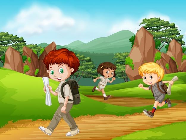 Grupo de caminhadas de escoteiros Vetor grátis