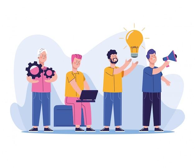 Grupo de caracteres de trabalhadores de empresários Vetor Premium