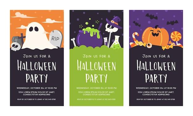 Grupo de cartão bonito do convite do partido do dia das bruxas. Vetor Premium