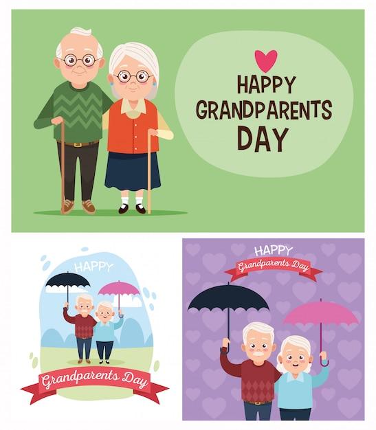 Grupo de casais de avós bonitinho para o dia dos avós Vetor Premium