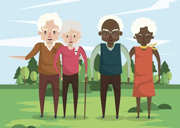 Grupo de casais de avós inter-raciais no campo Vetor Premium