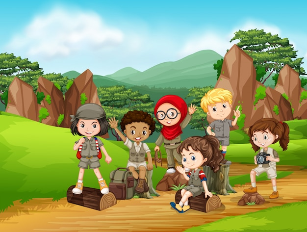 Grupo de cena de crianças de escoteiro Vetor Premium