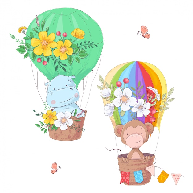 Grupo de clipart bonito das crianças do hipopótamo dos animais dos desenhos animados e do balão do macaco. Vetor Premium