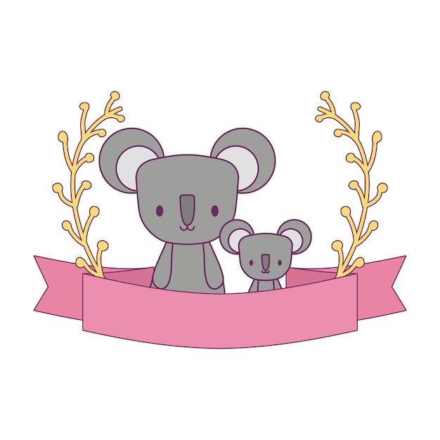 Grupo de coalas com ramos e fita Vetor Premium