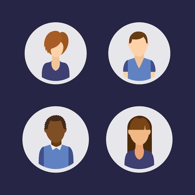 Grupo de comunidade de avatares de pessoas Vetor Premium