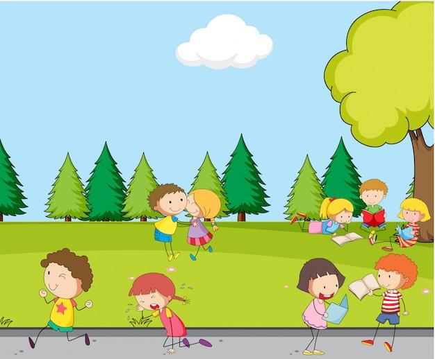 Grupo de criança no parque Vetor grátis