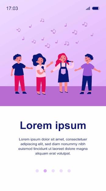 Grupo de crianças cantando música com ilustração de microfones Vetor Premium