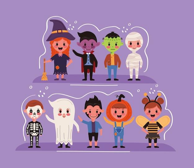 Grupo de crianças com personagens de fantasias de halloween Vetor Premium