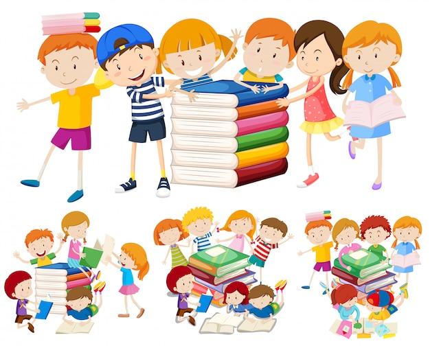 Grupo de crianças e livro Vetor Premium