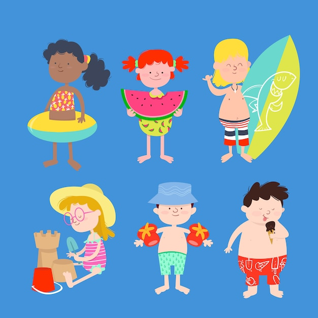 Grupo de crianças em fato de banho Vetor Premium