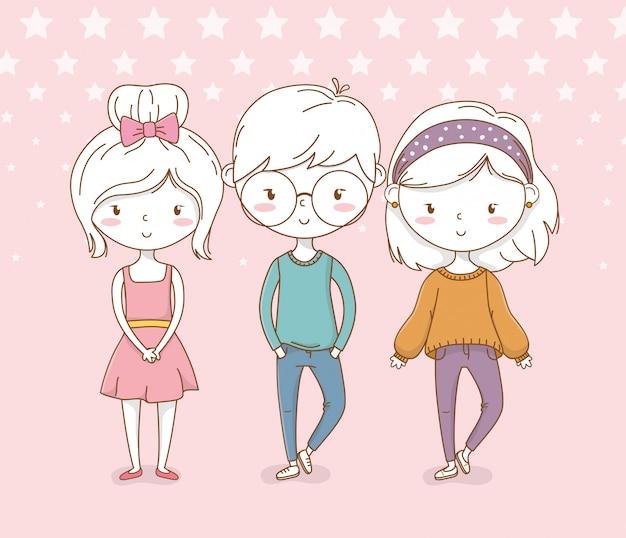 Grupo de crianças lindas com fundo pontilhado Vetor Premium