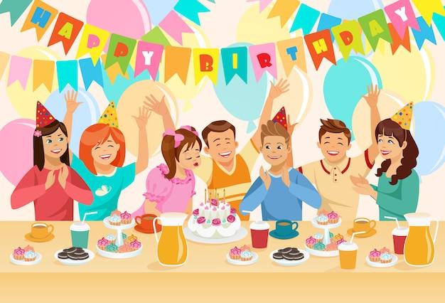 Grupo de crianças que comemoram o feliz aniversario. Vetor Premium