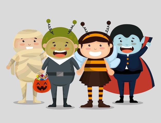 Grupo de crianças vestidas no dia das bruxas Vetor grátis