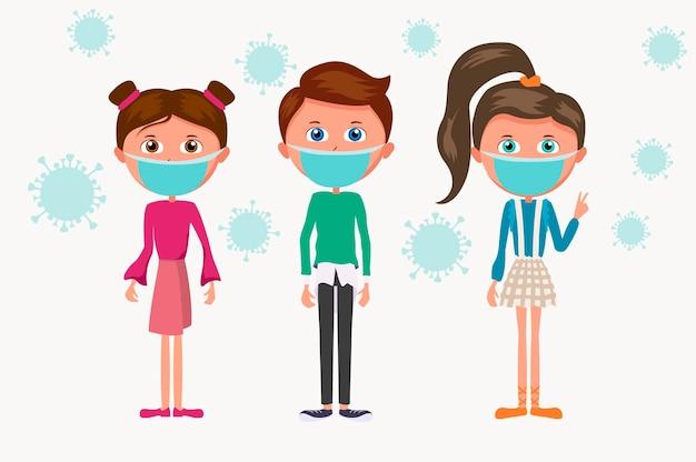 Grupo de desenhos animados de crianças com máscara médica azul. crianças e a epidemia de bactérias coronavírus. Vetor Premium