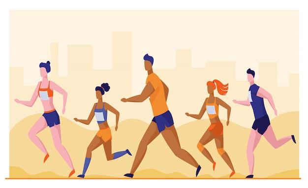 Grupo de desportistas correndo maratona Vetor grátis