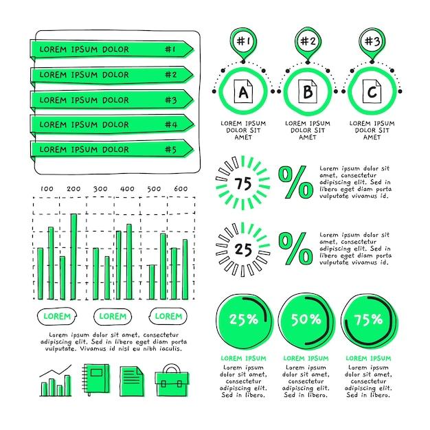 Grupo de elementos de infográfico desenhado de mão Vetor grátis