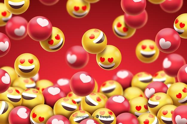 Grupo de emoticons de smiley amor Vetor grátis
