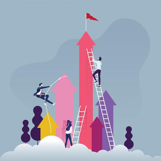 Grupo de empresários competitivos, subindo a escada em uma nuvem Vetor Premium