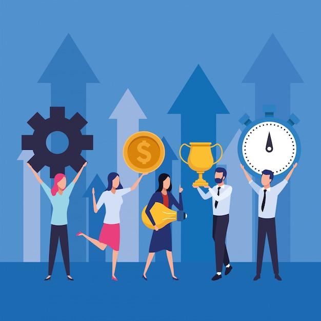 Grupo de empresários, trabalho em equipe com setas para cima personagens Vetor Premium
