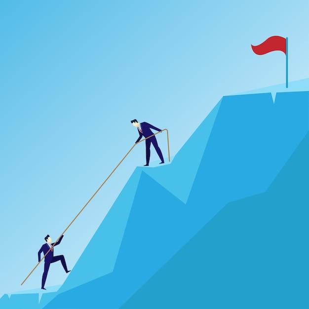 Grupo de equipe de liderança de conceito de homem de negócios subir para o sucesso Vetor Premium